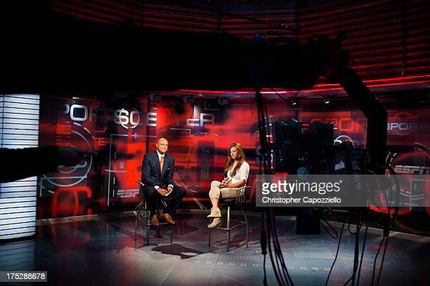 UFC bantamweight fighter Miesha Tate is interviewed by Sportscenter anchor Jorge Andres at ESPN's headquarters on August 1 in Bristol Connecticut...
