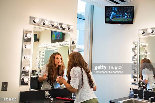 UFC bantamweight fighter Miesha Tate waits in the makeup room at ESPN's headquarters on August 1 2013 in Bristol Connecticut Tate will battle...