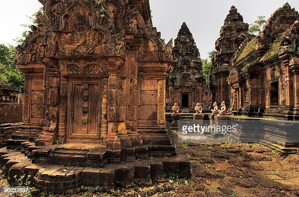 Banteay Srei or Srey the temple with the most delicated and preserved stonecarvings in the Angkor Archeological Park in Siem Reap on December 5...