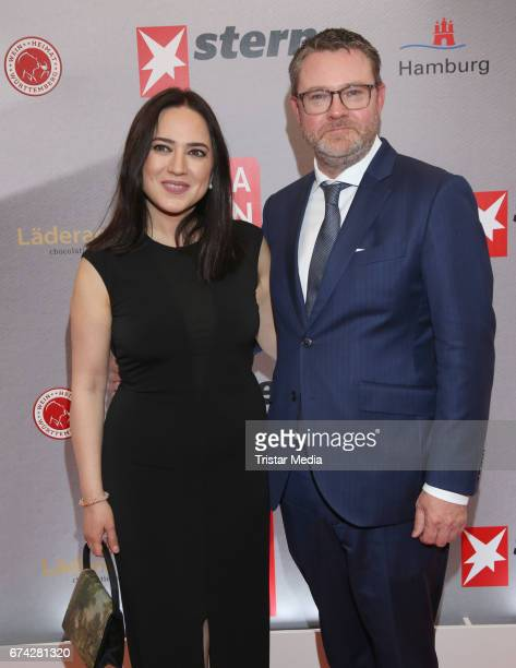 Banu Gueven and Christian Krug during the Henri Nannen Award red carpet arrivals on April 27 2017 in Hamburg Germany