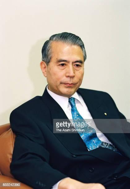 Banyu Pharmaceutical President Kenjiro Nagasaka speaks during the Asahi Shimbun interview on June 28 1994 in Tokyo Japan