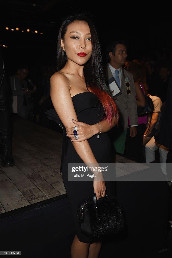 Bao Bao Wan attends DSquared2 show during Milan Menswear Fashion Week Spring Summer 2015 on June 24, 2014 in Milan, Italy.