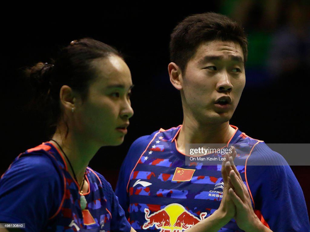 <a gi-track='captionPersonalityLinkClicked' href=/galleries/search?phrase=Bao+Yixin&family=editorial&specificpeople=8308329 ng-click='$event.stopPropagation()'>Bao Yixin</a> and Liu Cheng of China reacts during the match between Shin Baek Cheol and Yoo Jung Chae of South Korea and Liu Cheng and <a gi-track='captionPersonalityLinkClicked' href=/galleries/search?phrase=Bao+Yixin&family=editorial&specificpeople=8308329 ng-click='$event.stopPropagation()'>Bao Yixin</a> of China during Semi-Final of Yonex-Sunrise Hong Kong Open 2015 on November 21, 2015 in Hong Kong, Hong Kong.