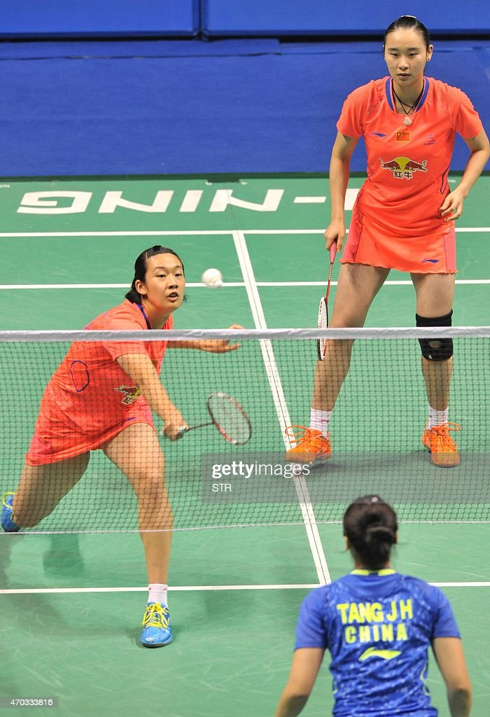 <a gi-track='captionPersonalityLinkClicked' href=/galleries/search?phrase=Bao+Yixin&family=editorial&specificpeople=8308329 ng-click='$event.stopPropagation()'>Bao Yixin</a> (top R) and Yang Yuanting of China (L) hit a return against Tang Jinhua (bottom R) and Zhong Qianxin of China during their women's doubles final at the BWF China Masters Grand Prix Gold badminton tournament at the Olympic Sports Center Xincheng Gymnasium in Changzhou, in eastern China's Jiangsu province on April 19, 2015. CHINA