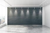 Baordroom interior with blank wall and window, mock up