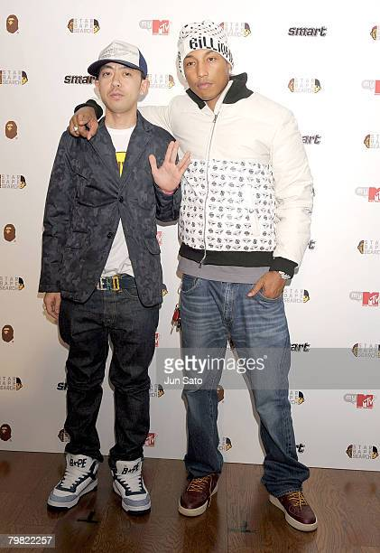 Bape designer Nigo and musician Pharrell Williams attend 'Star Bape Search' press conference at MTV Japan on February 18 2008 in Tokyo Japan The...
