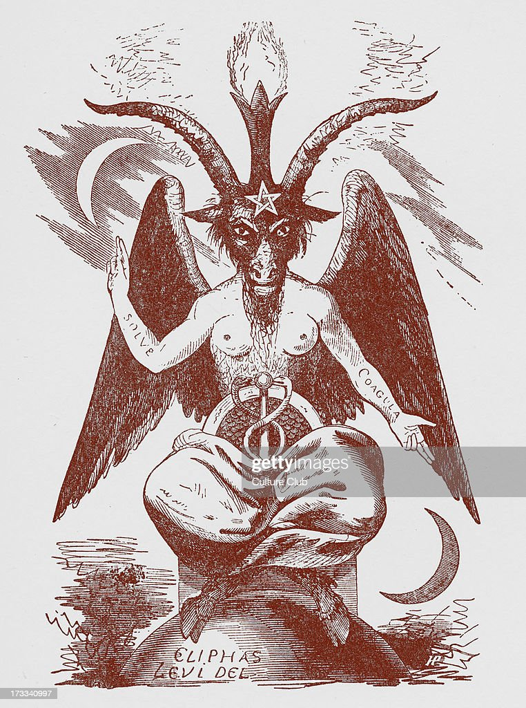 Baphomet - Pagan deity (i.e., a product of Christian folklore concerning pagans), revived in the 19th century as a figure of occultism and Satanism. From illustration by Eliphas Lévi, published in 'Dogme et Rituel de la Haute Magie' ,1855. Since this date, the term baphomet has been associated with Lévi 's image of the Sabbtic Goat.