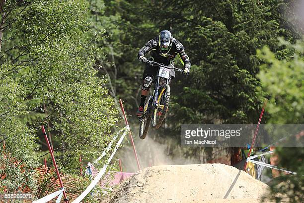Baptise Pierron of France competes in the Men's Downnhill at the UCI Mountain Bike World Cup on June 5 2016 in Fort William Scotland