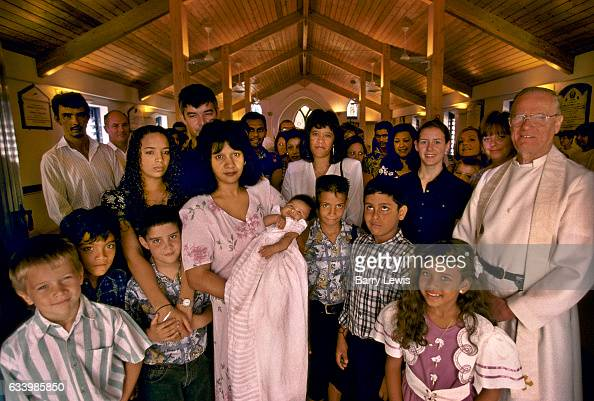 A baptism given by Father George taking place in the church of St Marys in Georgetown 27th May 1997 on Ascension a small isolated volcanic island in...