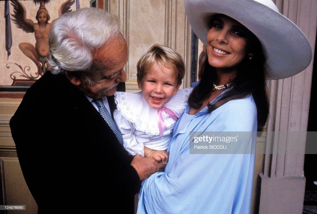 Baptism of Charlotte Casiraghi In Monaco, Monaco On September 21, 1986 - Rainier, Andrea and Caroline.