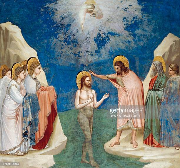 Baptism of Christ by Giotto detail from the cycle of frescoes Life and Passion of Christ 13031305 after the restoration in 2002 Scrovegni Chapel...