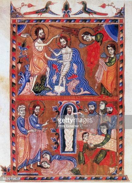 'Baptism of Jesus and the Raising of Lazarus' 1336 In the top of the image Jesus is being baptised by his cousin St John the Baptist Below Jesus is...