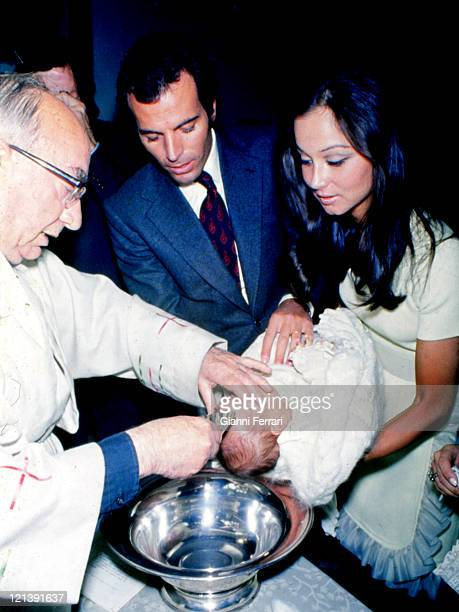 Baptism of Julio Jose the second son of Julio Iglesias and his wife Isabel Preysler 22nd October 1973 Madrid Spain