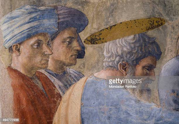 Baptism of the Neophytes by Masaccio 14251426 15th Century fresco 255 x 162 cm Italy Tuscany Florence Church of Santa Maria del Carmine Brancacci...