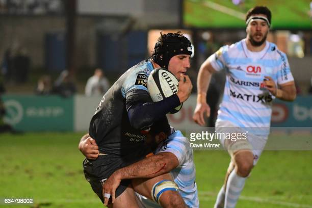 Baptiste Chouzenoux of Bayonne during the Top 14 match between Racing 92 and Aviron Bayonnais Bayonne on February 11 2017 in Colombes France