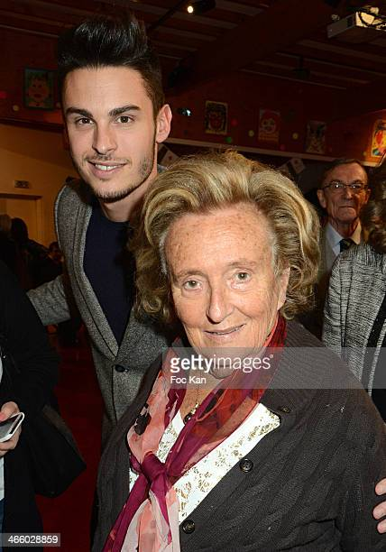Baptiste Giabiconi and Bernadette Chirac attend the 25th Anniversary of Pieces Jaunes Bernadette Chirac's Press Conference At CHRU Jeanne De Flandres...