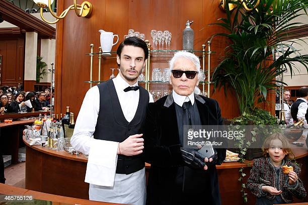 Baptiste Giabiconi and Fashion Designer Karl Lagerfeld pose after the Chanel show as part of the Paris Fashion Week Womenswear Fall/Winter 2015/2016...