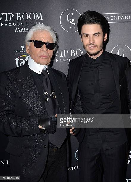 Baptiste Giabiconi and Karl Lagerfeldattend the 'Baptiste Giabiconi Stylecom' Launch Party at VIP Room Theater Paris on February 28 2015 in Paris...