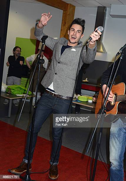 Baptiste Giabiconi performs during the Baptiste Giabiconi In Concert At Maison Des Enfants De Lille on January 30 2014 in Lille France