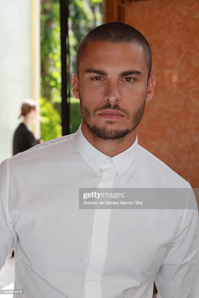 Baptiste Giabiconi poses backstage before the Balmain Menswear Spring/Summer 2017 show as part of Paris Fashion Week on June 25, 2016 in Paris, France.