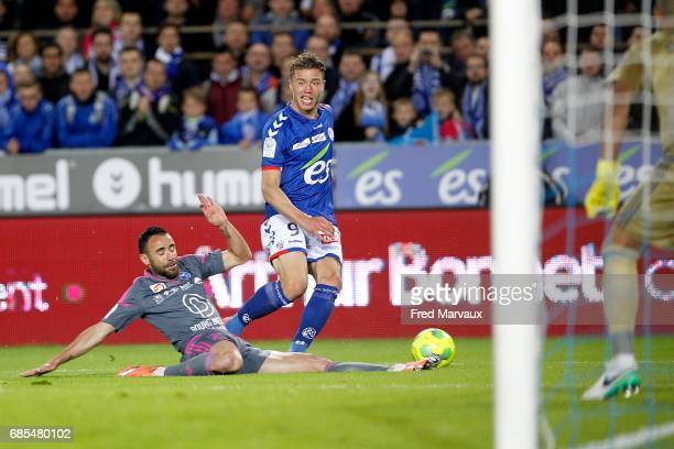 Baptiste Guillaume of Strasbourg during the Ligue 2 match between RC Strasbourg Alsace and Bourg en Bresse on May 19 2017 in Strasbourg France