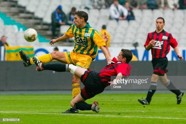 Baptiste Ibrahim of Nantes and Anthony Scaramozzino of Nice during Gambardella Final match between Nantes and Metz on May 11th 2002 Olivier Prevosto...