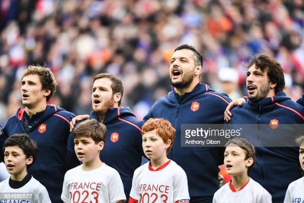Baptiste Serein Camille Lopez Damien Chouly and Remi Lamerat of France during the RBS Six Nations match between France and Wales at Stade de France...