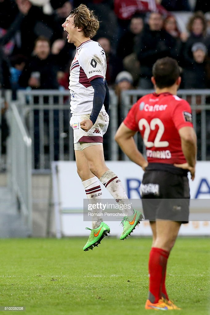 Baptiste Serin of Union Bordeaux Begles reacts after victory during the Top 14 rugby match between Union Bordeaux Begles and RC Toulon at Stade Matmut Atlantique on February 14, 2016 in Bordeaux, France.