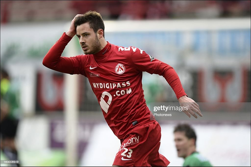 Baptiste Ulens of KV Kortrijk looks dejected after missing an opportunity during the Cofidis Cup semi-final match between KV Kortrijk and Cercle Brugge in the Guldensporen stadium on March 03, 2013 in Kortrijk, Belgium.