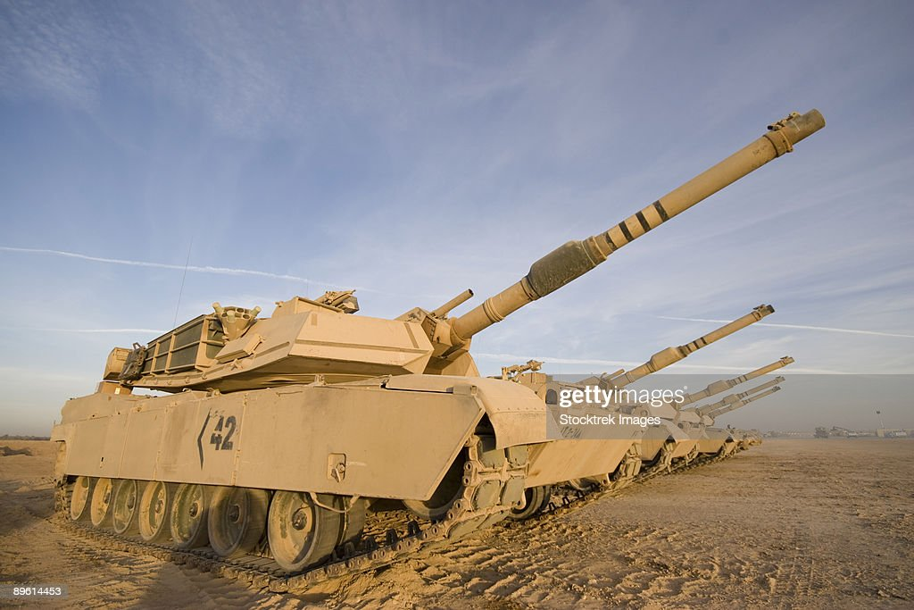 Baqubah, Iraq - M1 Abrams tanks at Camp Warhorse.