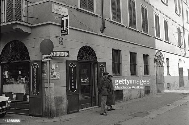 A bar and tobacconist Montmartre in Madonnina street one of the principal streets in Brera the Latin Quarter of Milan with its luxury restaurants and...