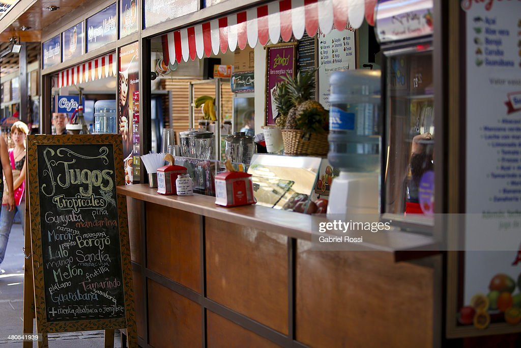 A bar at Patio Bellavista offers typical juices on March 17, 2014 in Santiago, Chile.