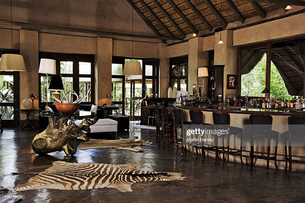 Bar at the ultra luxurious Chitwa Chitwa Private Game Lodge, situated in the world famous Sabi Sand Game Reserve, bordering the Kruger National Park. South Africa (PR: Property Released) : Stock Photo