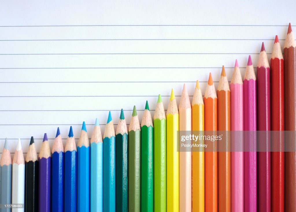 Bar Chart Graph Rainbow Colored Pencils Showing Result of Success