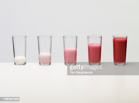 Bar chart made of coloured liquid : Stock Photo
