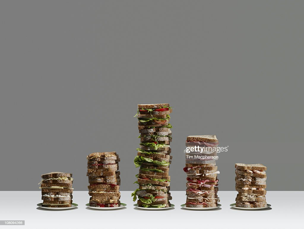 Bar chart of made of sandwich's : Stock Photo