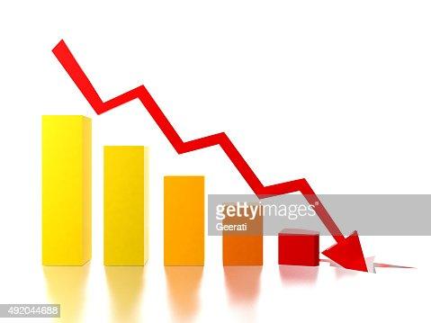 Bar chart shows decreasing rate : Stock Photo