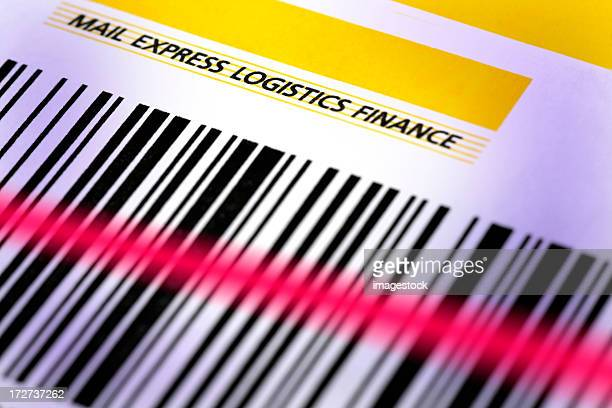 Bar code on parcel with laser beam