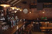 Empty bar counter at pub