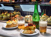 "Spanish finger food, called ""pinchos"" are usually enjoyed with a drink before meals."