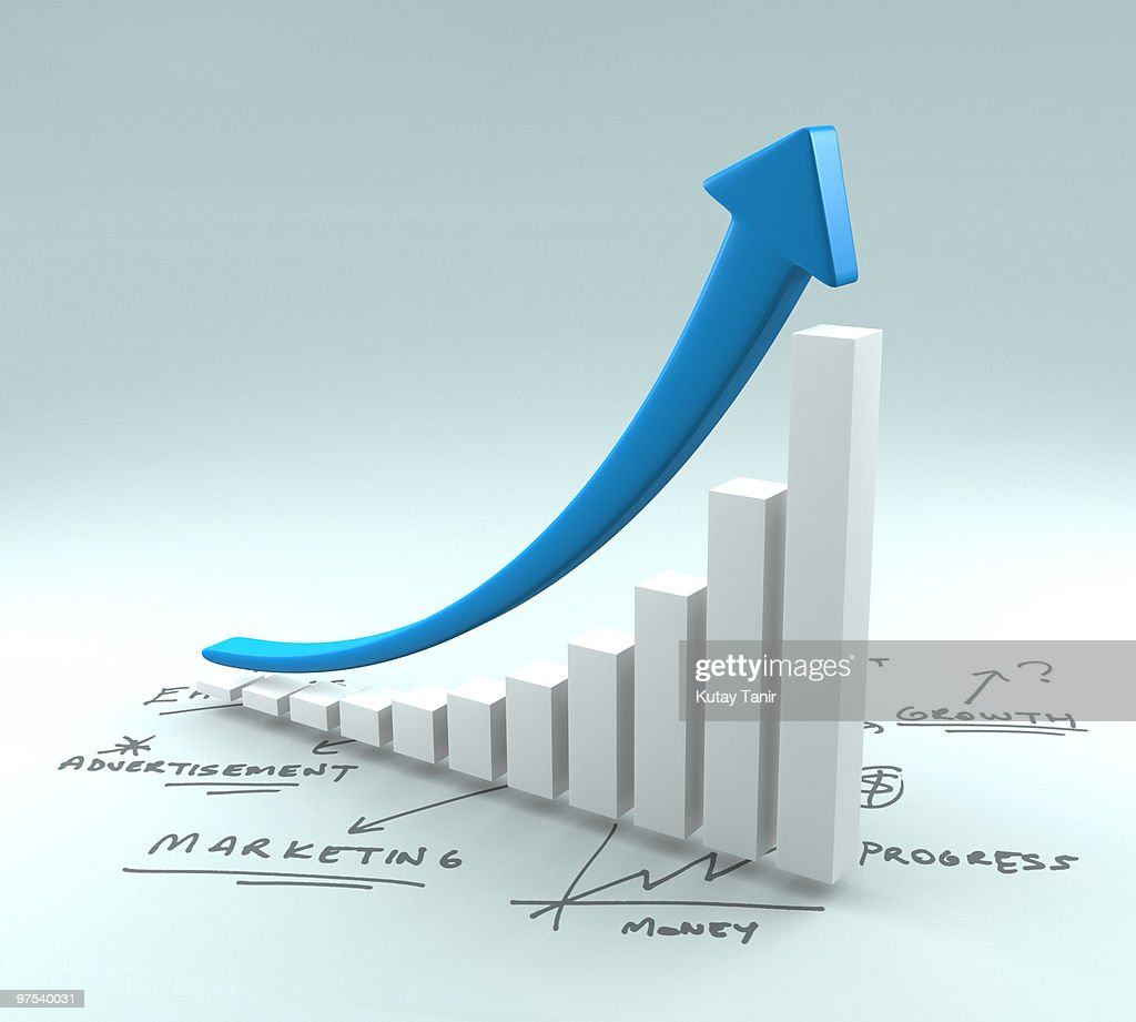 Bar graph and arrow with business plan : Stock Photo