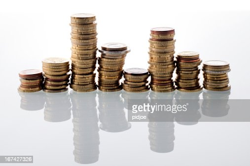 bar graph made of European Union coins : Stock Photo