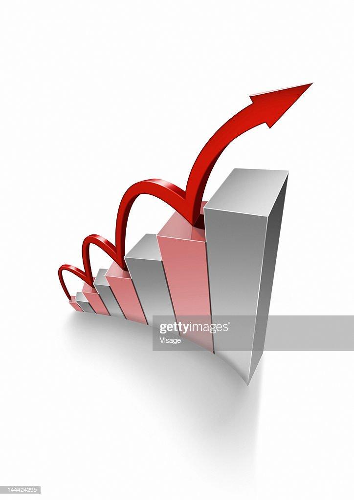 A bar graph with arrow ascending, Digital Composition : Stock Photo
