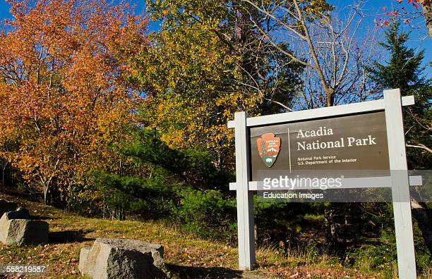 Bar Harbor Maine Sign for Acadia National Park in fall colors leaf peeping in New England