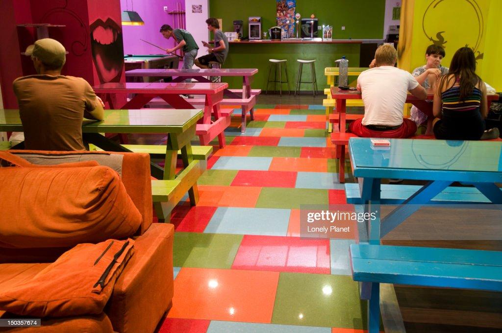 Bar in the Purple Nest Hostel, Plaza Tetuan 5. : Stock Photo