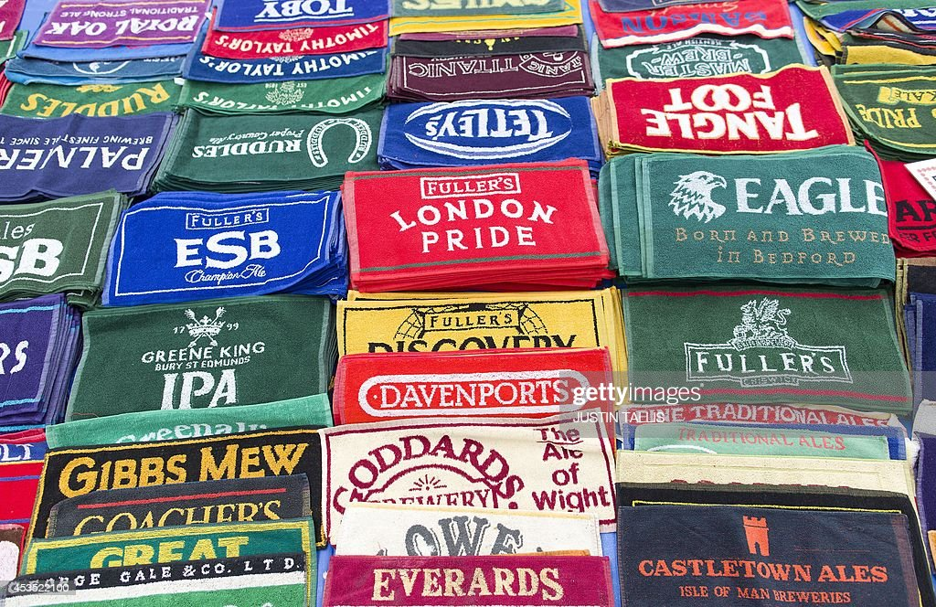 Bar mats are pictured during the opening day of the Great British Beer Festival, organised by the Campaign for Real Ale (CAMRA), in London on August 12, 2014.