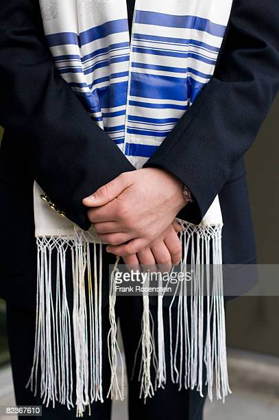 Bar Mitzvah boy wearing a Tallit