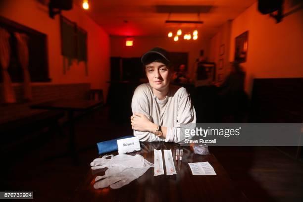 TORONTO ON NOVEMBER 18 bar owner Carmen Elle of Less Bar shows the contents of a Naloxone kit gloves instructions alcohol swabs two syringes two...