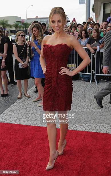 Bar Paly arrives at the Miami Premiere of 'Pain Gain' at Regal South Beach on April 11 2013 in Miami Florida