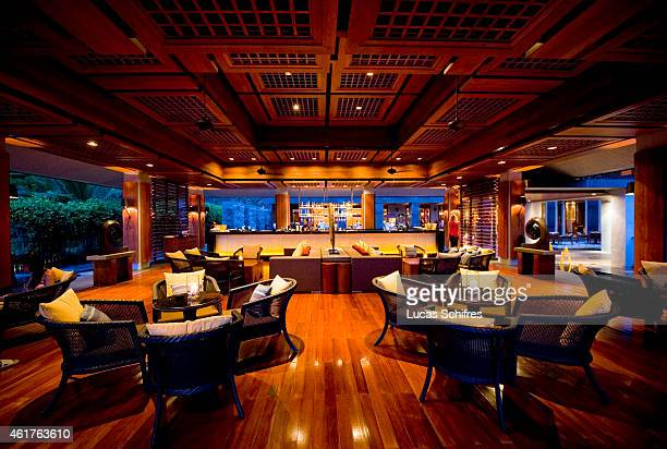 A bar part of the Mandarin Oriental hotel resort on the on the Dadonghai bay coast of Sanya on August 15 2010 in Hainan province China Sanya is the...